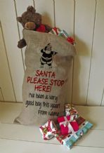Personalized Santa Stop Here Large Father Christmas Xmas Santa Sack / Stocking Bag Jute Hessian